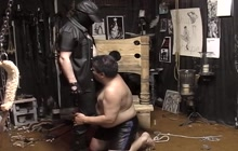 Dungeon bear tied up and spanked