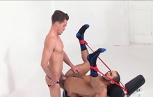 Bound hunk takes it in the ass