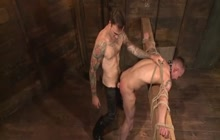 Tattooed Stud Fucks Tied Up Guy