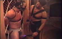 BDSM gay couple enjoy electro game