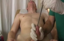Examination of Urinary tract with long stick and cock sucking after that