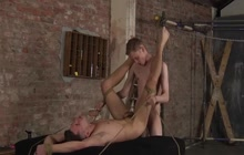 Tied up gay guy fucked in the ass