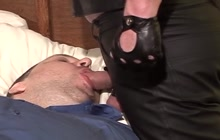 Tied Guy Giving Blowjob